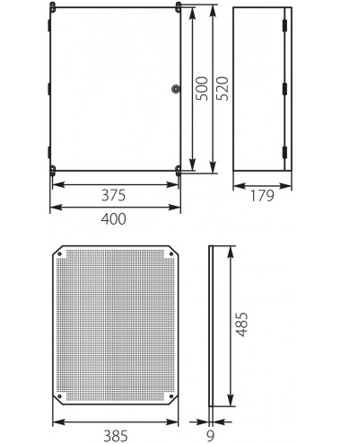 Plastic enclosure 500x375x179 IP65