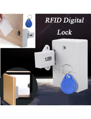 Cabinet lock with contactless reader and battery operation