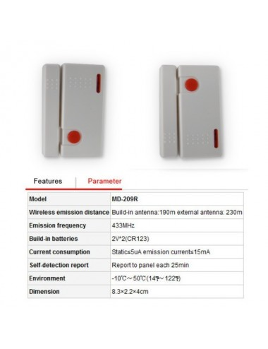 Wireless magnetic contact 433MHz